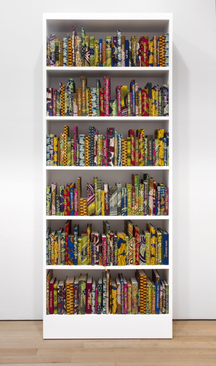 YINKA SHONIBARE MBEThe American Library Collection (Historians)2017Approximately 225 Hardback books, Dutch wax printed cotton textile, gold foiled names, bookcase, bespoke card catalogue box98 x 40 x 13 1/4 in.248.9 x 101.6 x 33.7 cmJCG9188