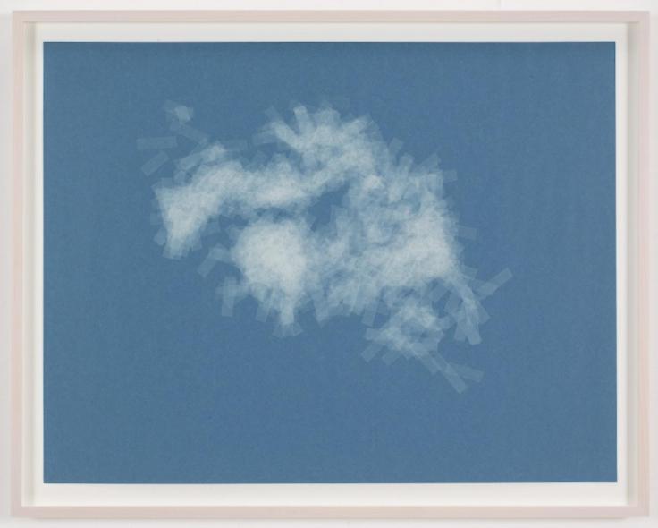 , SPENCER FINCH, Cloud (cumulus fractus, Sweden), 2014, Scotch tape on paper, 19 3/4 x 25 1/2 in. (sheet) 21 5/8 x 27 1/2 in. (framed)