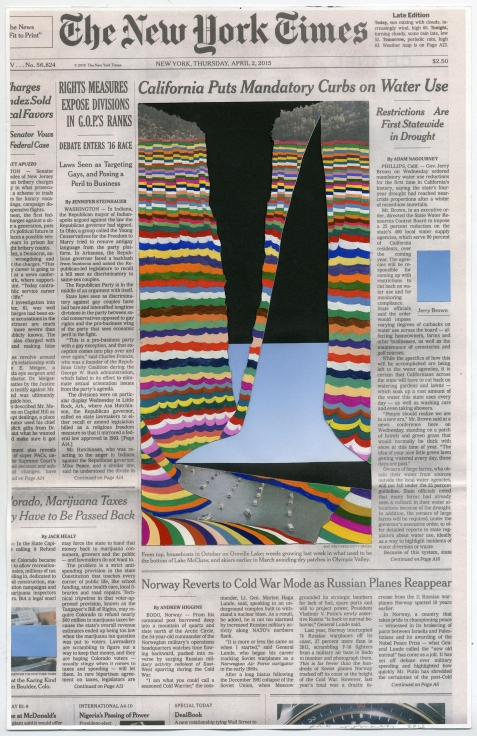 , FRED TOMASELLI, Apr. 2, 2015, 2016, collage and gouache on watercolor