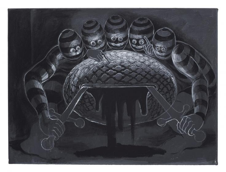 , TRENTON DOYLE HANCOCK, Letting,2015, acrylic on canvas, 9 x 12 in.