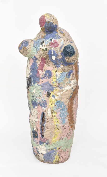 , KIRK MANGUS,Girl with Ponytail Femme,1986-87, stoneware and colored slips,51 1/2 x 20 1/4 x 17 1/4 in.,130.8 x 51.4 x 43.8 cm