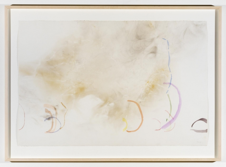 , JOHN CAGERiver Rocks and Smoke 04/12/90 #3,1990Watercolor on Waterford, cold press, 260 lb. paper prepared with fire and smoke32 3/8 x 45 x 1 3/4 in. (82.2 x 114.3 x 4.5 cm)