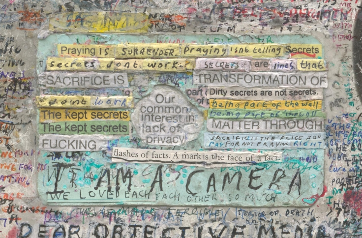 , SIMON EVANS,Marriage(detail), 2014 - 15. Found film poster. index cards, pen, paint, tape and glue, 35 3/4 x 23 3/4 in. (90.8 x 60.3 cm)