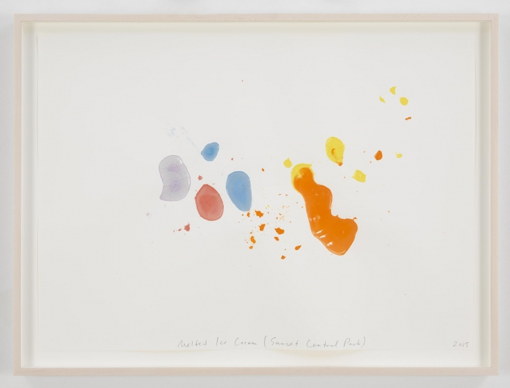 , SPENCER FINCHMelted Ice Cream (Sunset Central Park),2015Homemade frozen milk-paint on paper22 x 30 in. (55.9 x 76.2 cm)