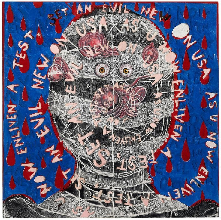 TRENTON DOYLE HANCOCKAs U Now Enliven A Test...2012 Acrylic and mixed media on canvas 24 x 24 in.