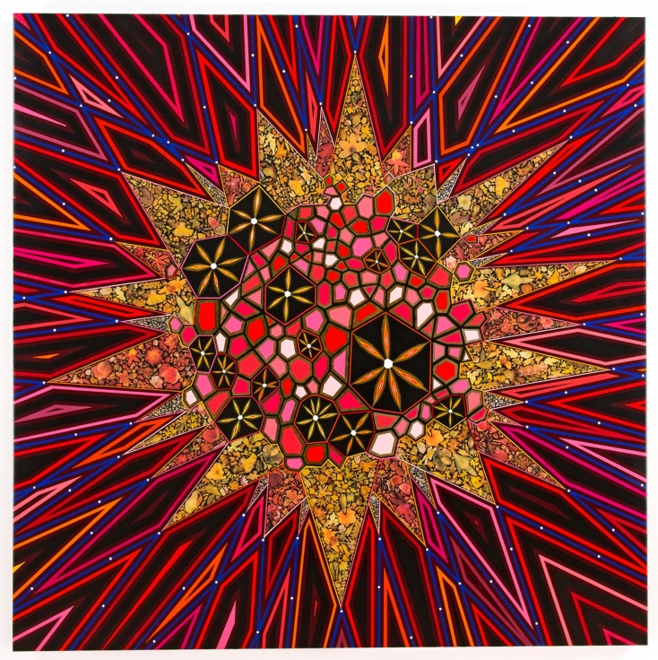 , FRED TOMASELLIBlack Star,2013Mixed media and resin on wood panel60 x 60 in.(152.4 x 152.4 cm)