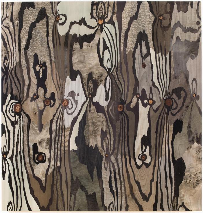 , ALISON ELIZABETH TAYLORMidnight Cowboy,2014Wood veneer, shellac50 x 48 in. (127 x 121.9 cm)