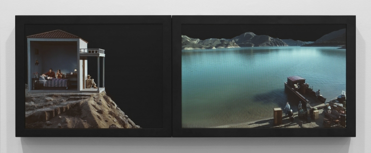 BILL VIOLAStudy for the Voyage2002Color video diptych on two LCD flat panelsmounted on wall15 x 42 1/2 in.38.1 x 108 cmDuration: 30:00 minEdition 3 of 5