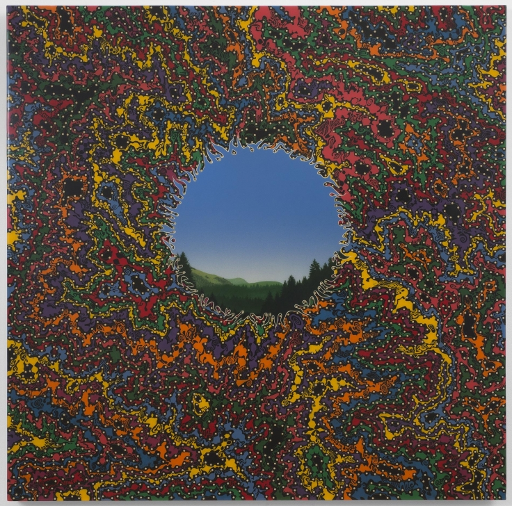 , FRED TOMASELLI, Double Landscape (Large), 1995, Saccharin,, acrylic, resin, wood panel. 48 x 48 inches (121.9 x 121.9 cm)