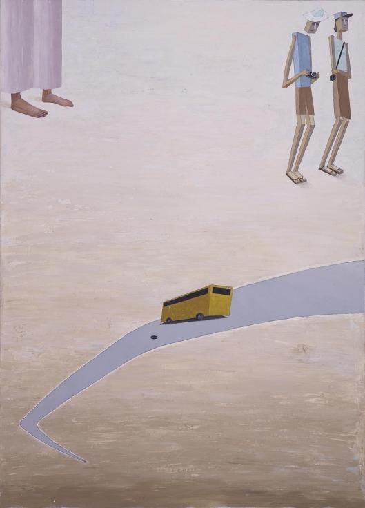 , MERNET LARSEN,Flat Tire,2010 , Acrylic on canvas, 60 x 43 in., 152.4 x 109.2 cm