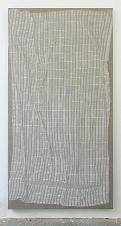 , HELENE APPEL,Pink Duvet Cover, 2014,Acrylic on linen, 87 x 44 5/8 in. (221 x 113.3 cm)
