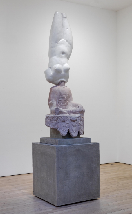 , XU ZHENEternity-Aphrodite of Knidos, Tang Dynasty Sitting Buddha,2014Glass fiber-reinforced concrete, marble grains, sandstone grains, mineral pigments, steel139 3/4 x 35 13/16 x 35 13/16 in. (355 x 91 x 91 cm) Edition of 3