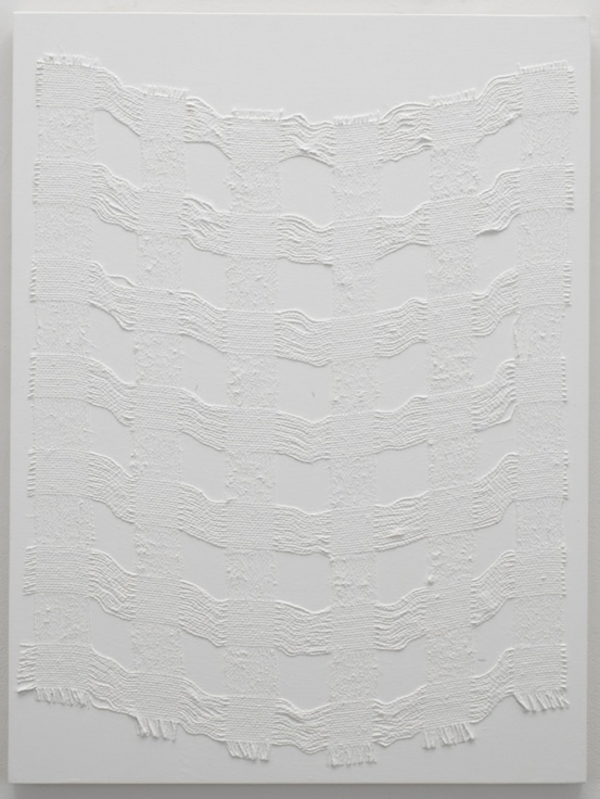 , MICHELLE GRABNER, Untitled, 2014 Burlap and gesso on panel 32 x 24 in.