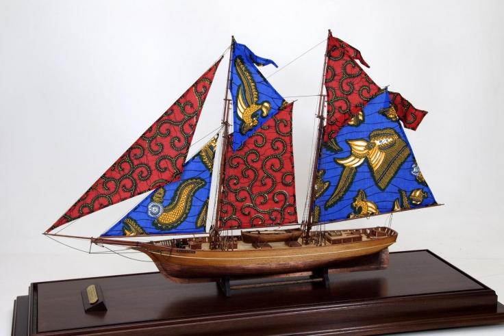 , YINKA SHONIBARE MBE Wanderer, 2006 Wood, plexiglas, fabric, brass 42 1/4 x 22 x 5 in. (ship) Edition of 8