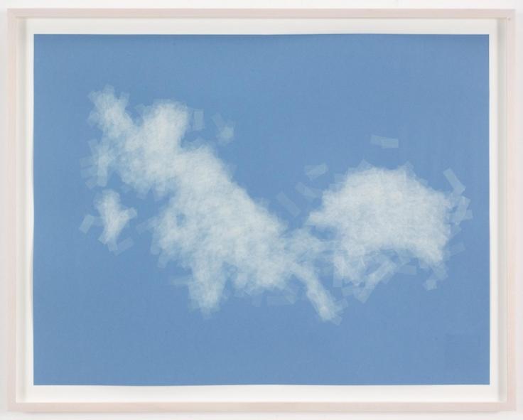 , SPENCER FINCH, Cloud (cumulus fractus, Massachusetts, E.D.), 2014,Scotch tape on paper,19 3/4 x 25 1/2 in. (sheet), 21 5/8 x 27 1/2 in. (framed)