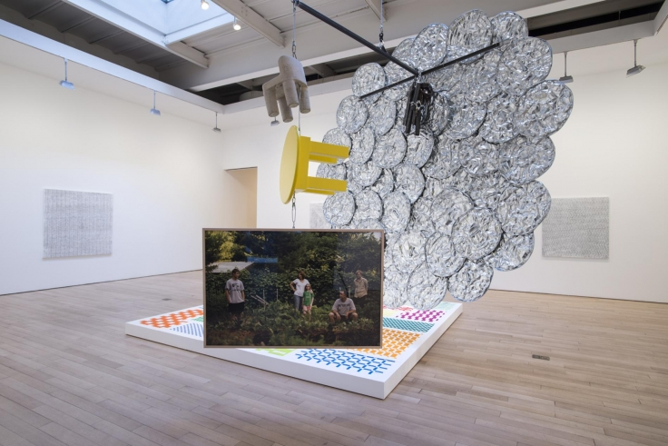 , MICHELLE GRABNER AND BRAD KILLAM My Oyster,2014Wood, galvanized steel, silverpoint and gesso on panel, enamel on panel, cast concrete, photography, archival inkjet print, paper weaving, various fasteners and pedestal 130 x 130 x 96 in. (330.2 x 330.2 x 243.8 cm)