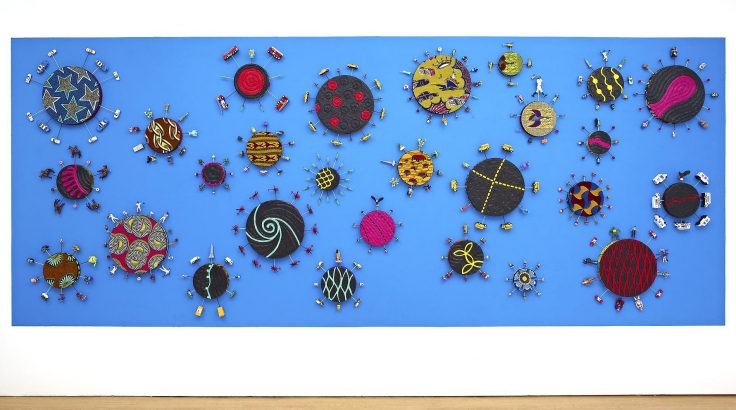 , YINKA SHONIBARE, MBE, New York Toy Painting, 2012, Emulsion, acrylic on Dutch wax fabric, 27 panels 98 3/8 x 244 1/8 x 6 1/4 in. (250 x 620 x 16 cm)