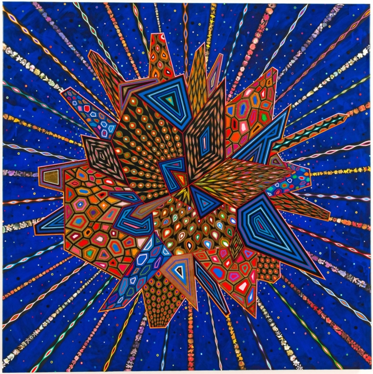 , FRED TOMASELLI Untitled, 2013 Mixed media and resin on wood panel60 x 60 in. (152.4 x 152.4 cm)