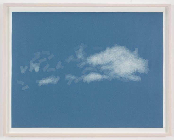 , SPENCER FINCH, Cloud (cumulus fractus, Finland), 2014, Scotch tape on paper, Sheet: 19 3/4 x 25 1/2 in., Framed: 21 5/8 x 27 1/2 in.