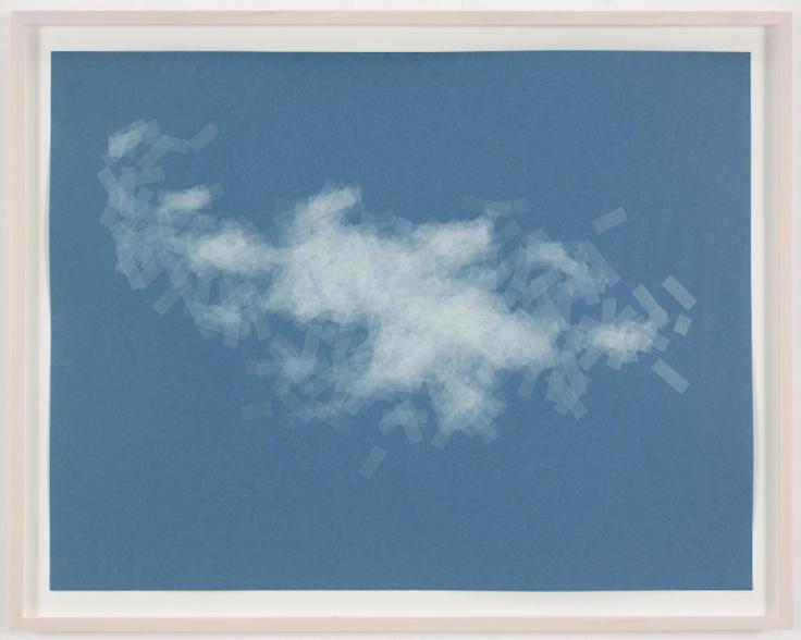 , SPENCER FINCH, Cloud (cumulus fractus, Paris), 2014, Scotch tape on paper, 19 3/4 x 25 1/2 in. (sheet), 21 5/8 x 27 1/2 in. (framed)