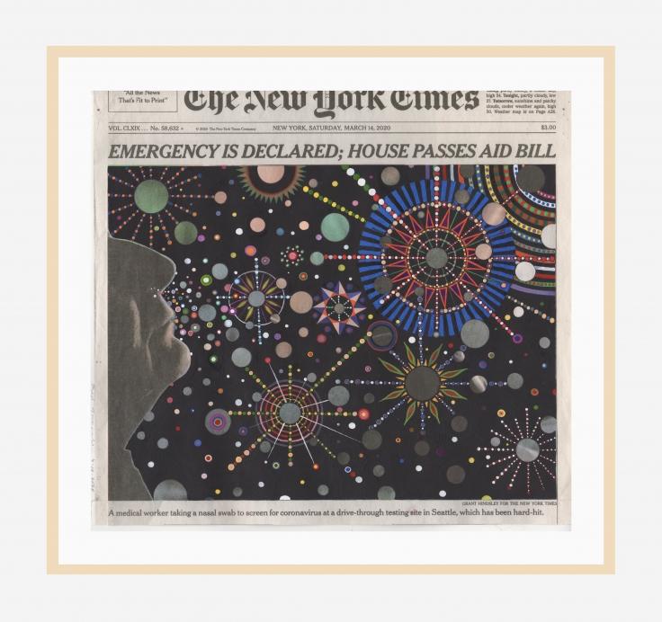 Newspaper overlaid with stars