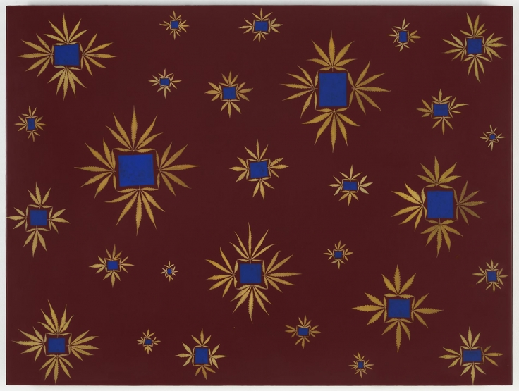 , FRED TOMASELLI Wow and Flutter, 1992 acrylic, leaves, and resin on panel 36 x 48 in.
