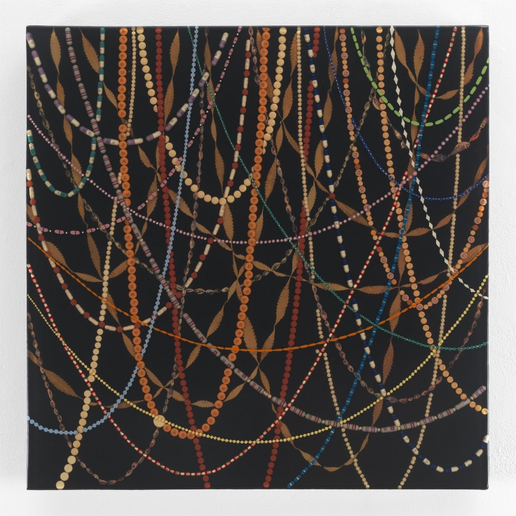 , FRED TOMASELLI, Gravity's Rainbow (Small), 1998, mixed media and resin on wood panel, 24 x 24 in., 61 x 61 cm