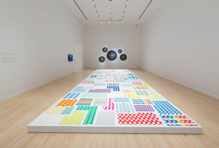 Installation view, Michelle Grabner,Weaving Life Into Art,Indianapolis Museum of Art, Indianapolis, IN, May 22- November 12, 2015