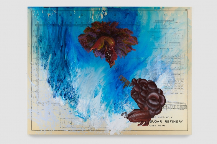 Swirling blue paint, lustrous knotted hair, crouching ciguapa and biomorphic palm tree overlain over an enlarged plan of a historical sugar refinery