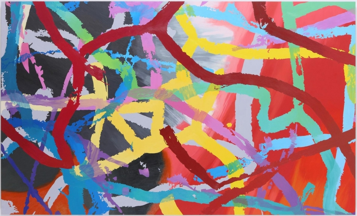 , INGRID CALAMEFrom #299 Drawing (Tracings from Buffalo, NY),2012Oil on aluminum60 x 100 in. (152.4 x 254 cm)