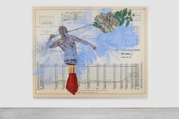 Industrial diagram with overlaid figure holding palm, red fist, slum