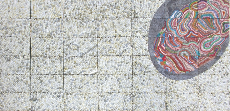 ELIAS SIMETightrope: Disoriented2017Reclaimed electronic components and wire on panel55 x 110 1/8 in.139.7 x 279.7 cmJCG9103