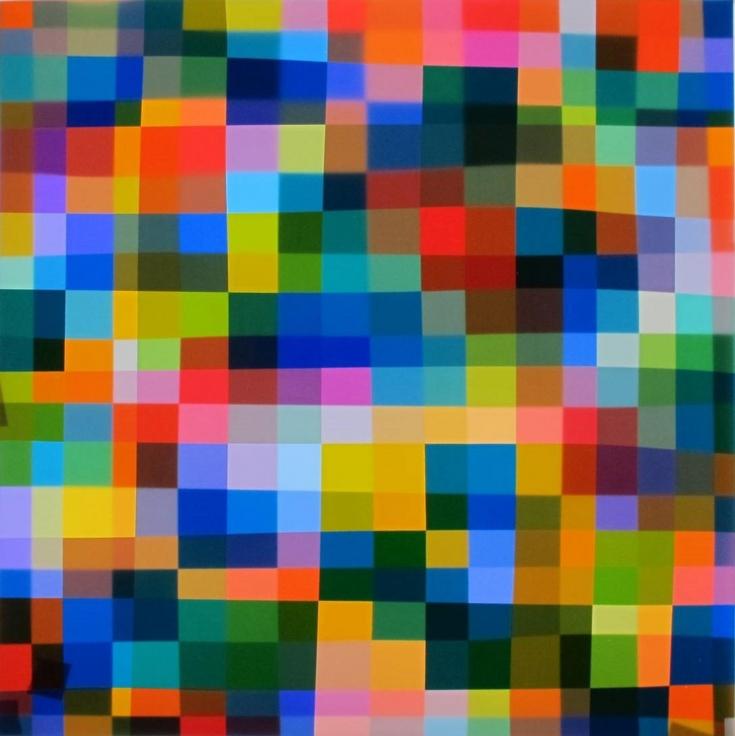 , SPENCER FINCH, Color Test (360), 2014, LED lightbox, Fujitrans, 30 x 30 x 4 1/2 in.