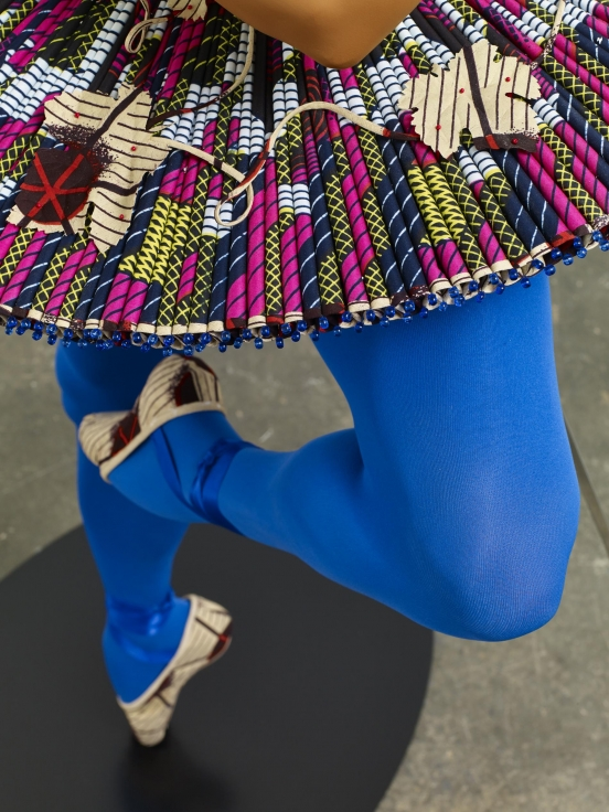 , YINKA SHONIBARE, MBEBallet God (Apollo) (detail),2015Fibreglass mannequin, Dutch wax printed cotton textile, lyre, sword, globe, pointe shoes and steel baseplate75 15/16 x 33 13/16 x 33 7/16 in. (193 x 86 x 85 cm)