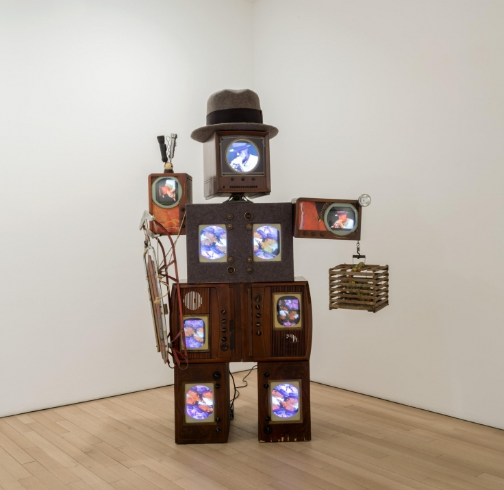 , NAM JUNE PAIK Beuys Voice,1990Two channel color video on laser discs, antique television cabinets, felt, mixed media sculpture104 3/8 x 74 x 37 3/8 in. (265 x 188 x 95 cm)