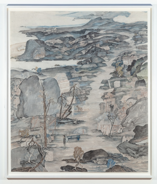 YUN-FEI JI, Water Rising, Feng Jie,2004Mineral pigments and ink on Xuan paper43 3/4 x 37 5/8 in.