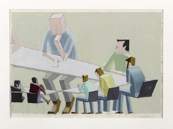 , MERNET LARSEN, Faculty Meeting Study, 2006, Acrylic on Bristol board. 19 x 24 in.
