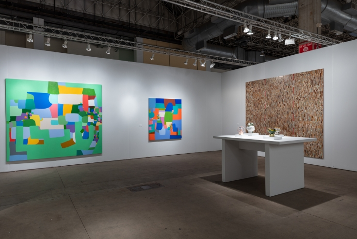 James Cohan's booth at EXPO Chicago featuring work by Kathy Butterly, Federico Herrero, Jordan Nassar, and Elias Sime