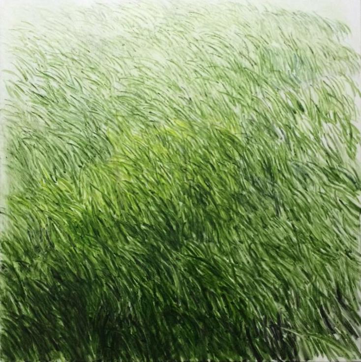 , SHI ZHIYING, Lawn No.10 (草坪 10), oil on canvas, 78 11/16 x 78 11/16 in.
