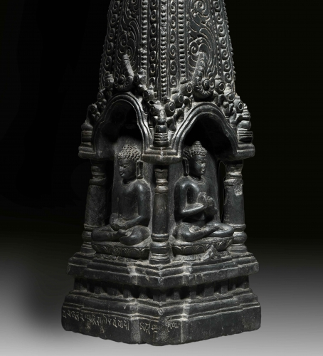 Detail An Important Four Sided Buddhist Shrine Gray stone India, Pala period 10th century Height: 17 3/4 in (45 cm) Width: 6 1/2 in (16 1/2 cm)