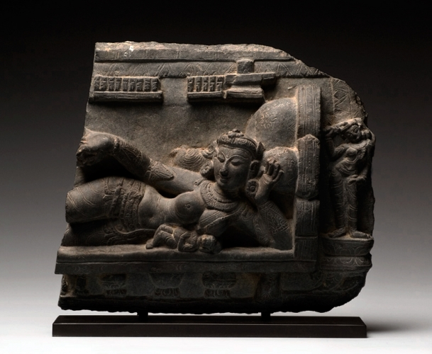 Schismatic and Grihapati, Gray/black stone, India, Pala period, 11th century