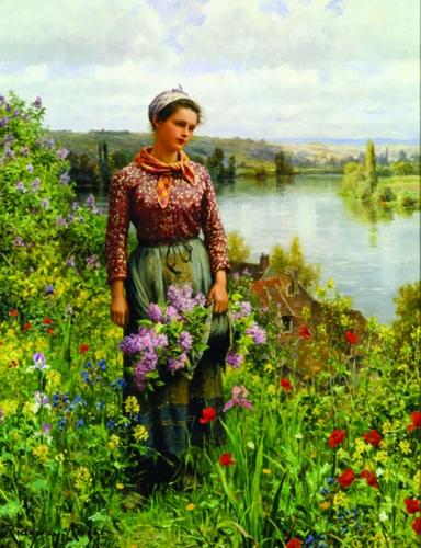 Knight, gathering Lilacs