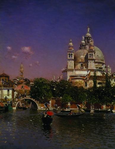 RICO Y ORTEGA, MARTIN VENETIAN LAGOON NEAR THE CHURCH OF SANTA MARIA DELLA SALUTE
