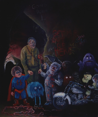 HITLER LED TO HELL, OIL ON PANEL, 20 X 24 INCHES, 2011