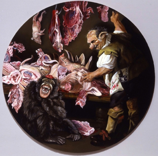 PIGHEADED: WHERE THERE IS NO SENSE THERE IS NO FEELING, OIL ON PANEL, 38 INCHES DIAMETER, 2007