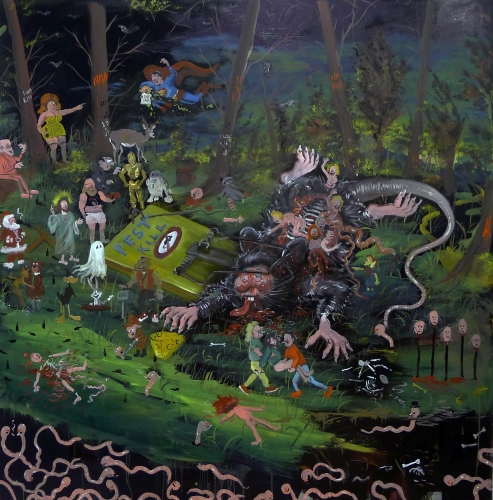 JOE BECKER | THE CYCLE OF LIFE, OIL ON CANVAS, 72 X 72 INCHES, 2015