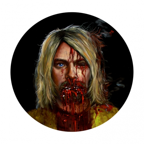 NO MORE TEARS, OIL ON PANEL, 40 INCHES DIAMETER, 2011