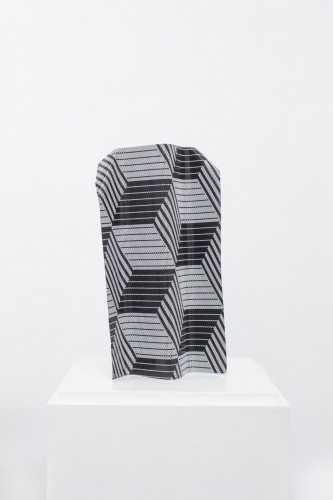 MICHAEL VICKERS | ADELSON SHADOW | PERFORATED VINYL AND SPRAY PAINT ON ANODIZED ALUMINUM | 17 x 9 x 4 INCHES | 2015