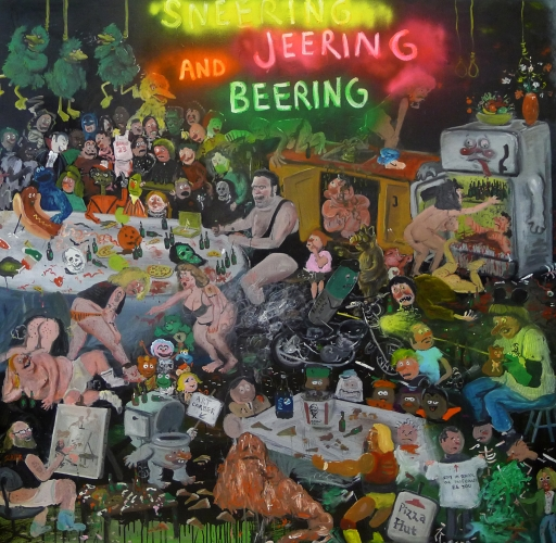 SNEERING, JEERING AND BEERING, OIL AND SPRAY PAINT ON CANVAS, 96 X 144, 2015