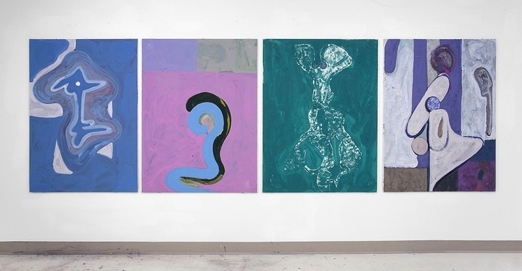 JAY ISAAC | UNTITLED | ACRYLIC, SAND, CHALK, LASER COPY AND GEL MEDIUM ON DRYWALL | 36 X 48 INCHES EACH | 2015